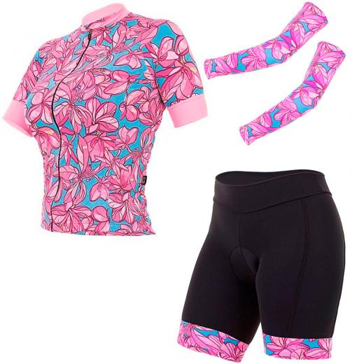 Kit Bermuda + Camisa + Manguito Feminino Marcio May Funny Flowers